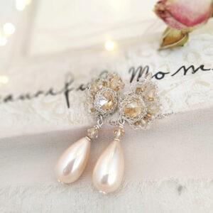 Kolczyki ślubne z perłami i kryształami
